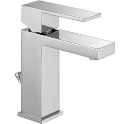 Angular Modern Single Handle Lavatory Faucet, Chrome