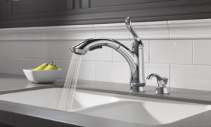 Delta 4353-DST Linden Single Handle Pull-Out Kitchen Faucet, Chrome