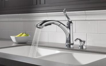 Delta 4353-DST Linden Single Handle Pull-Out Kitchen Faucet, Chrome