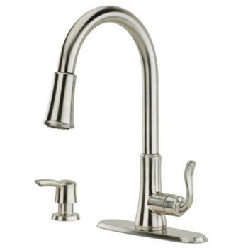 Pfister Cagney One-Handle Pull-Down Kitchen Faucet with Soap Dispenser